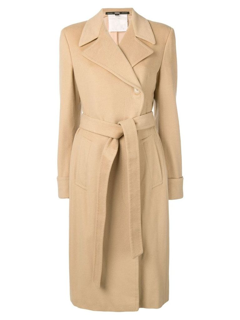 Gianfranco Ferre Pre-Owned 1990 belted coat - Neutrals