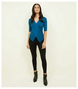 Apricot Teal Cross Front 3/4 Length Top New Look