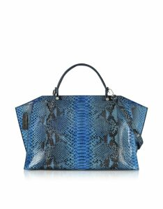 Ghibli Designer Handbags, Deep Blue Python Leather Large Satchel Bag