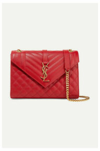 SAINT LAURENT - Envelope Medium Quilted Textured-leather Shoulder Bag - one size