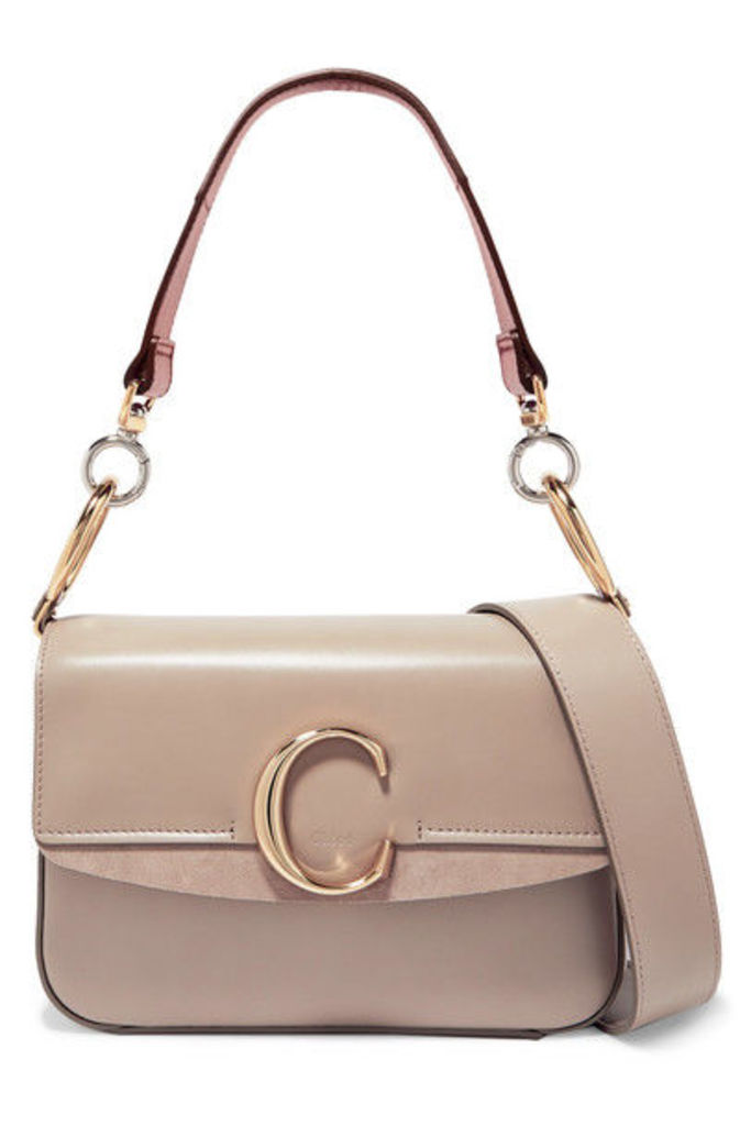 Chloé - Chloé C Small Suede-trimmed Leather Shoulder Bag - Neutral