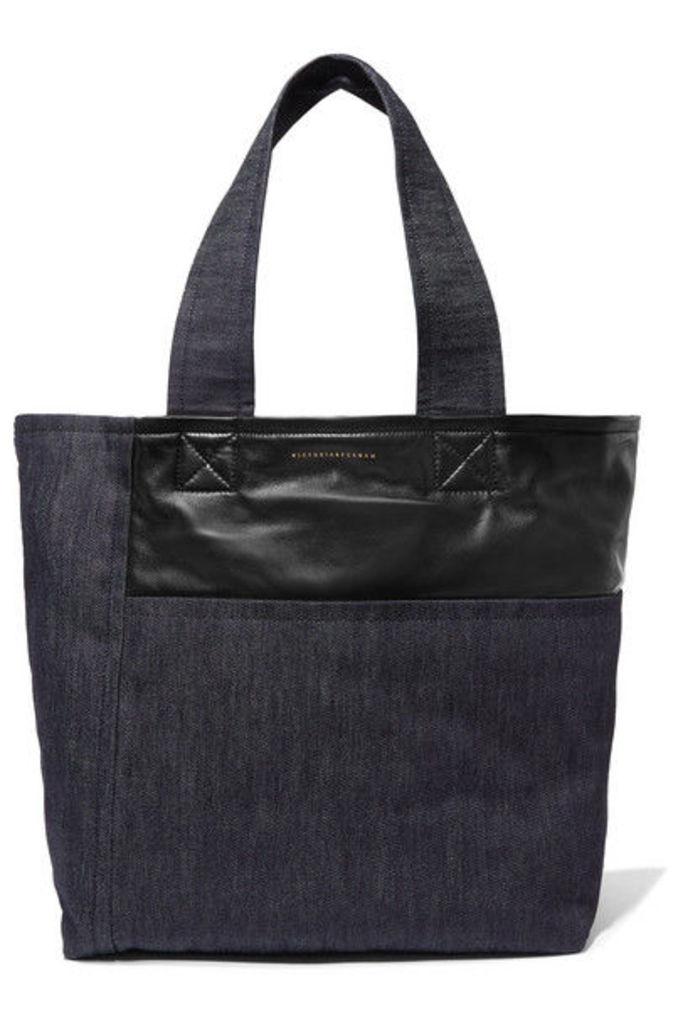 Victoria Beckham - Sunday Leather-trimmed Denim Tote - Dark denim