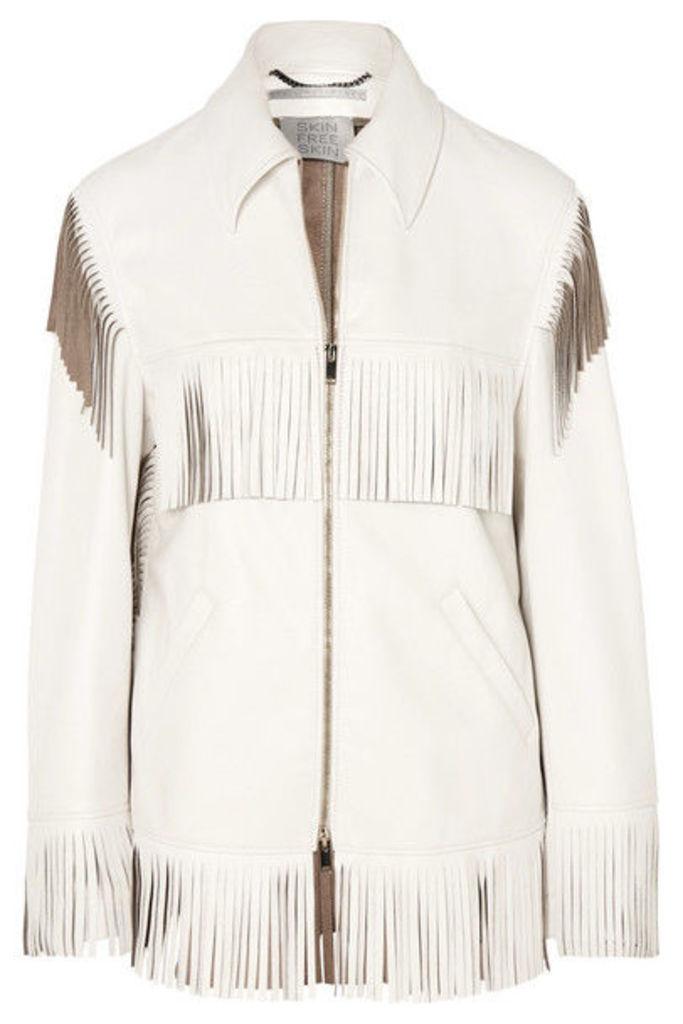 Stella McCartney - Fringed Faux Leather Jacket - White