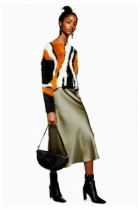 Womens Satin Bias Midi Skirt - Khaki, Khaki