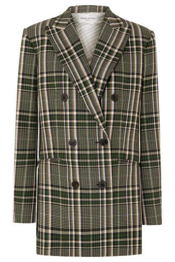 Sonia Rykiel - Double-breasted Checked Wool Blazer - Green