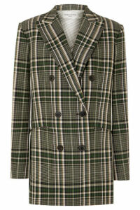 Sonia Rykiel - Double-breasted Checked Wool Blazer - Green