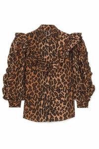Miu Miu - Ruffled Leopard-print Silk-georgette Blouse - Brown