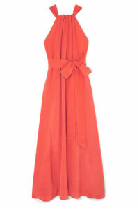 Kalita - Camille Reversible Silk-crepe Maxi Dress - Papaya