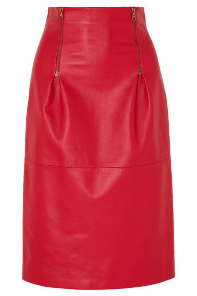 Versace - Zip-detailed Leather Skirt - Red