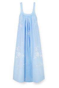 Stella McCartney - Oversized Embroidered Cotton-poplin Maxi Dress - Blue