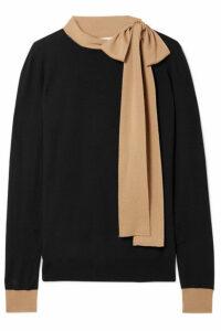 Marni - Tie-neck Two-tone Wool Sweater - Black