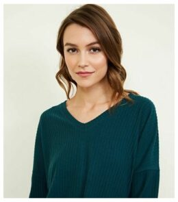 Dark Green Ribbed Brushed Jersey Top New Look