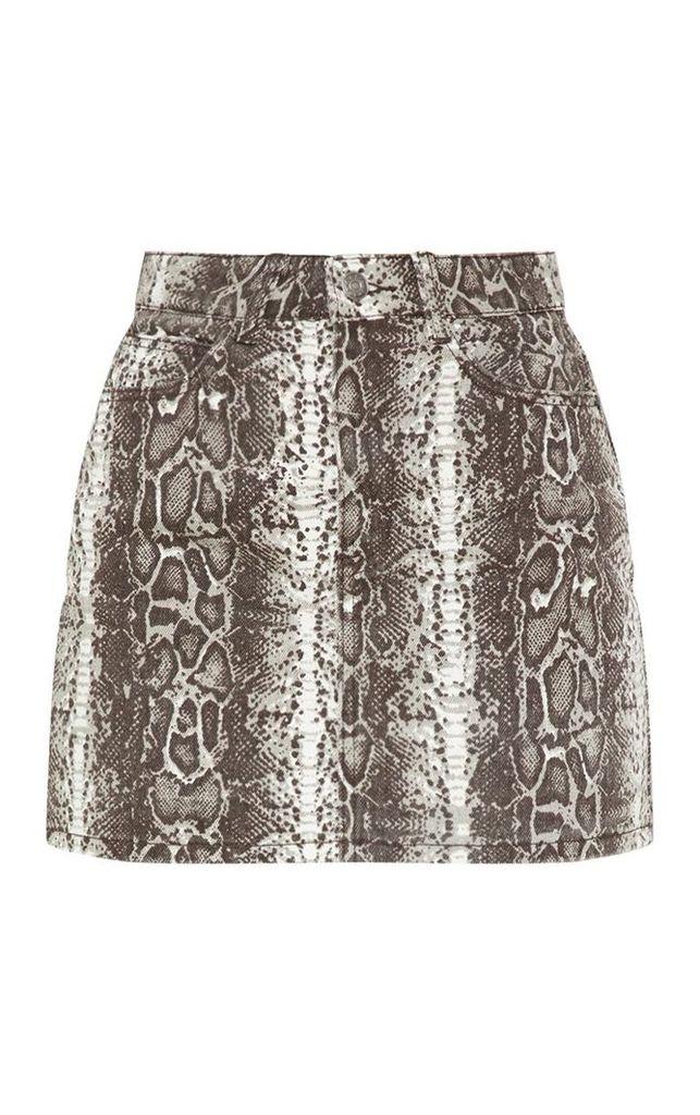 Brown Snake Print Skirt, Brown