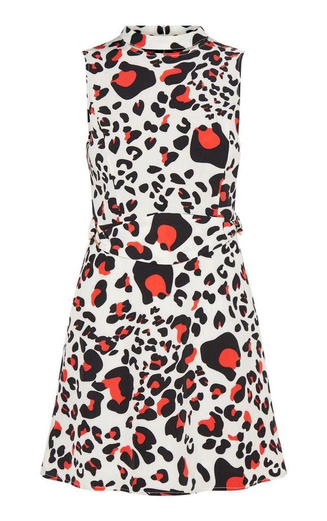 Cream Leopard Print Belted Shift Dress, White