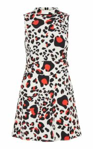 Cream Leopard Print Belted Shift Dress, White