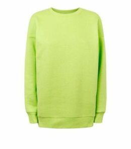 Green Neon Oversized Sweatshirt New Look