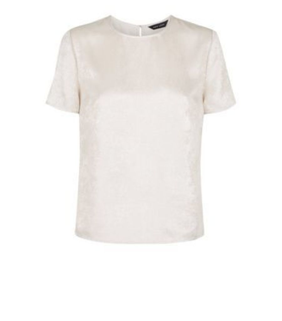 Pale Pink Short Sleeve Metallic Jacquard Top New Look