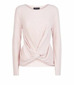 Pale Pink Brushed Rib Twist Front Top New Look