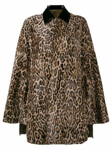 Skiim Bodil Goatskin Leopard print cape - Brown