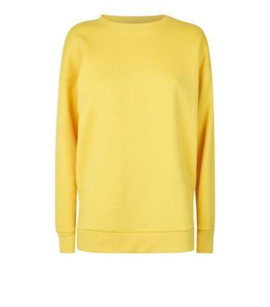 Yellow Side Split Oversized Sweatshirt New Look