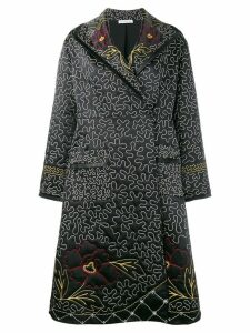 JW Anderson floral and squiggle embroidered coat - Black