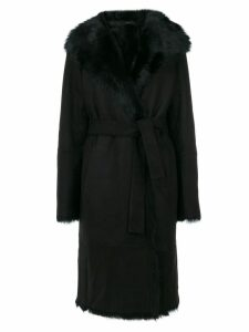 Joseph tie-waist fur trim coat - Black