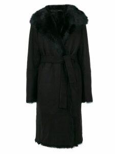 Joseph tie-waist fur trim coat - Black