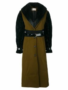 Lanvin racoon fur trim coat - Green