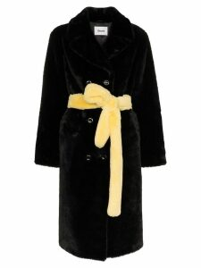 Stand Faustine belted faux fur coat - Black