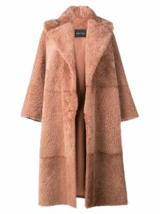 Cara Mila Gigi Oversized Shearling Coat - Brown