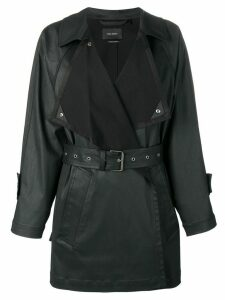 Isabel Marant belted faux-leather coat - Black