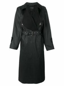 Isabel Marant belted faux leather midi coat - Black