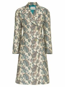 Etro jacquard print single breasted coat - Neutrals