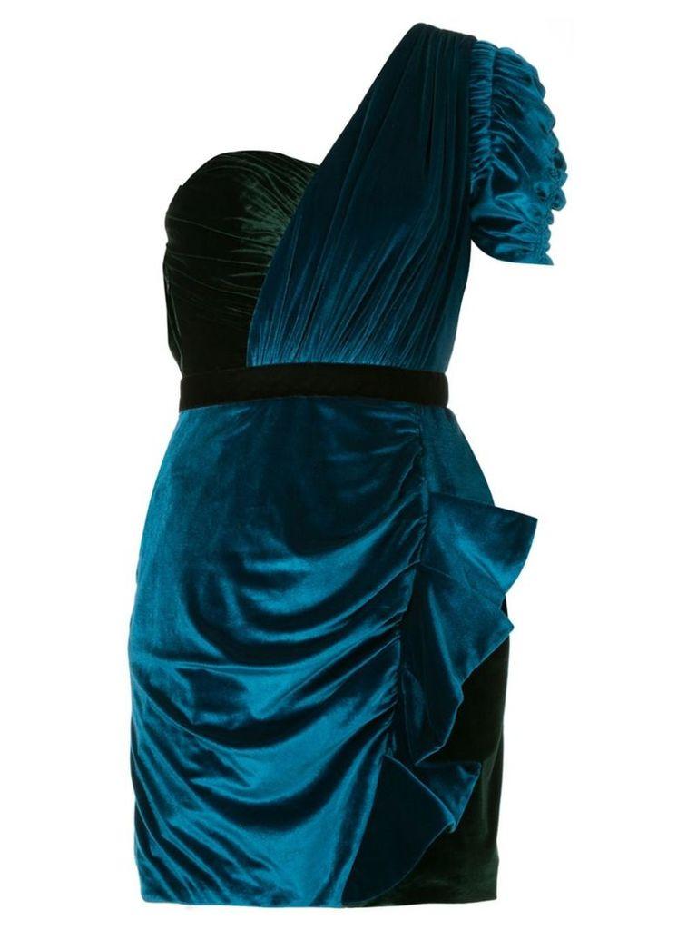 Self-Portrait one-shoulder draped mini dress - Blue