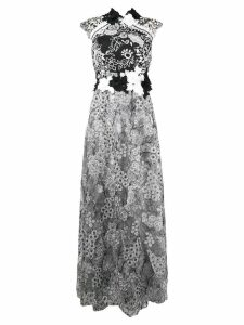 Talbot Runhof floral embroidered tulle dress - White