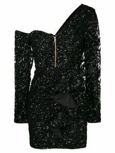 Self-Portrait ruffle mini dress - Black