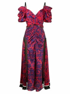 Self-Portrait printed pleated cold shoulder dress - Red