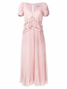 Self-Portrait frilled pleated midi dress - Pink