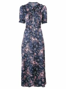 Jill Stuart frilled floral shirt dress - Blue