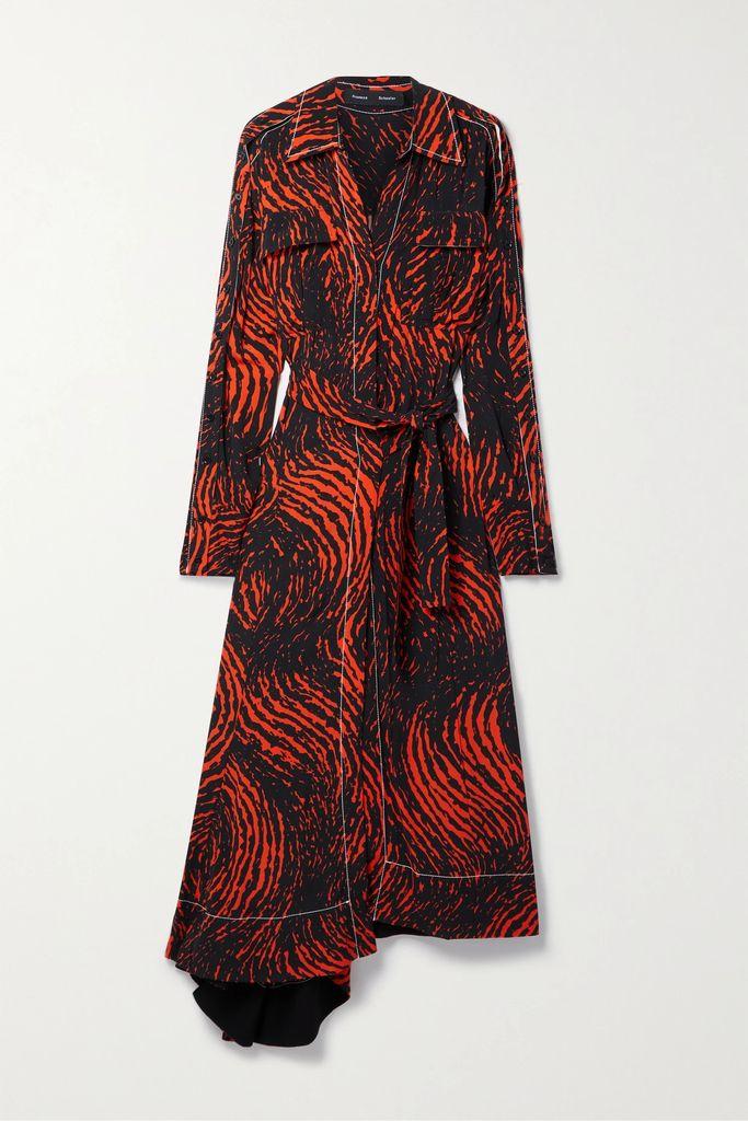 Chloé - Belted Open-back Draped Satin Dress - Ivory