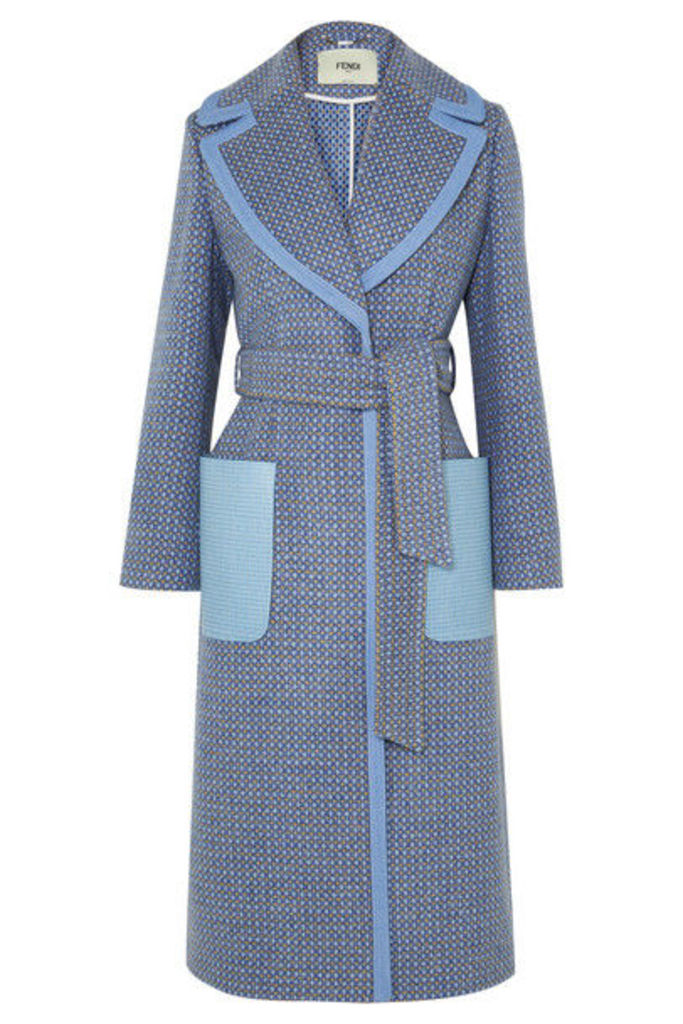 Fendi - Belted Canvas And Leather-trimmed Wool-blend Twill Coat - Blue