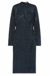 Rebecca Vallance - Andree Sequined Lurex Midi Dress - Navy