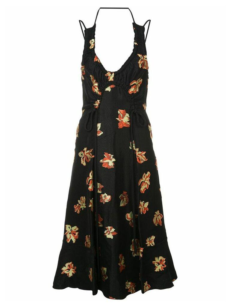 Proenza Schouler Floral Jacquard Tie Detail Dress - Black