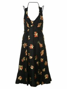 Proenza Schouler Floral Jacquard Tie Detail Dress - Black