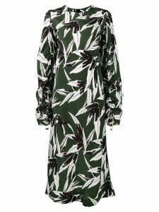 Marni ruched leaf print dress - Green