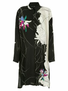 Y's floral print shirt dress - Black