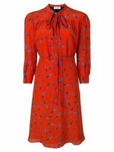 Sonia Rykiel bouquet print tie neck shirt dress - Red