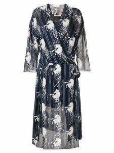 Chloé horse print wrap dress - Blue