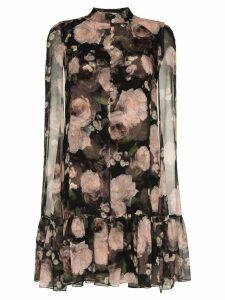 Erdem Constantine rose print silk dress - Black