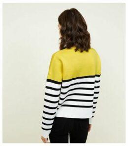 Yellow Stripe Colour Block Jumper New Look